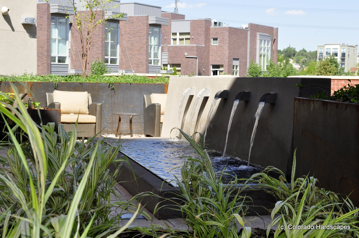 Water Feature at Manhattan II Apartments in Denver, CO