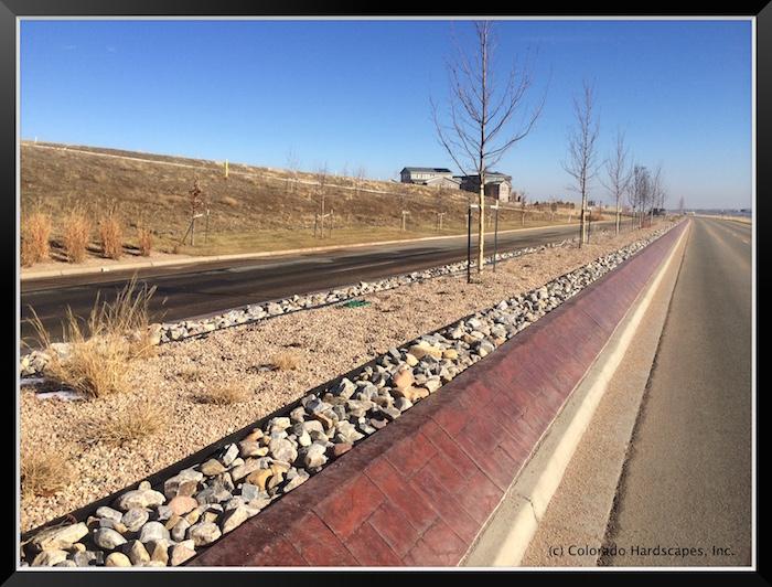 Bomanite stamped concrete medians in Arvada, Colorado