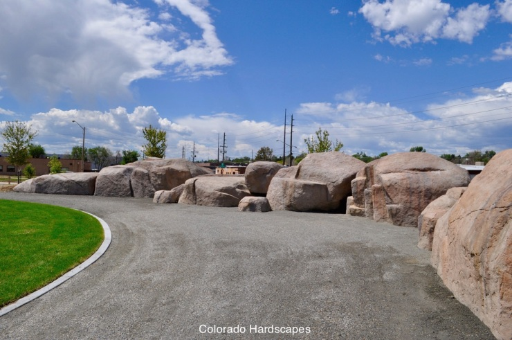 To create boulders similar to those seen along the South Platte in the Colorado Rockies, the city turned to the rock artisans at Colorado Hardscapes