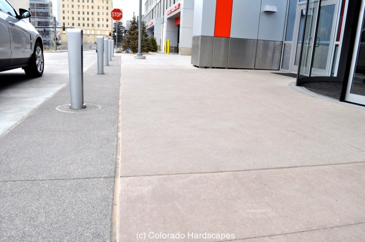 Concrete and site furnishings installed by Colorado Hardscapes