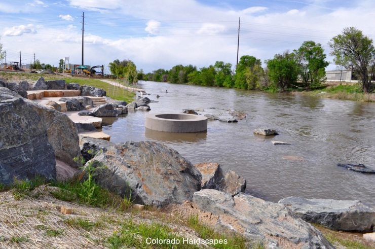 In the South Platte River, Colorado Hardscapes installed a Sandscape fire pit for when the river is at lower levels