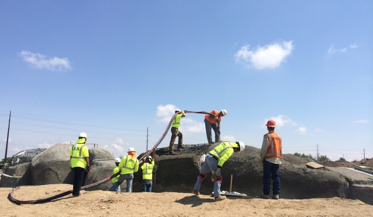 Construction of the shotcrete rocks included referring to a construction copy of the maquette frequently