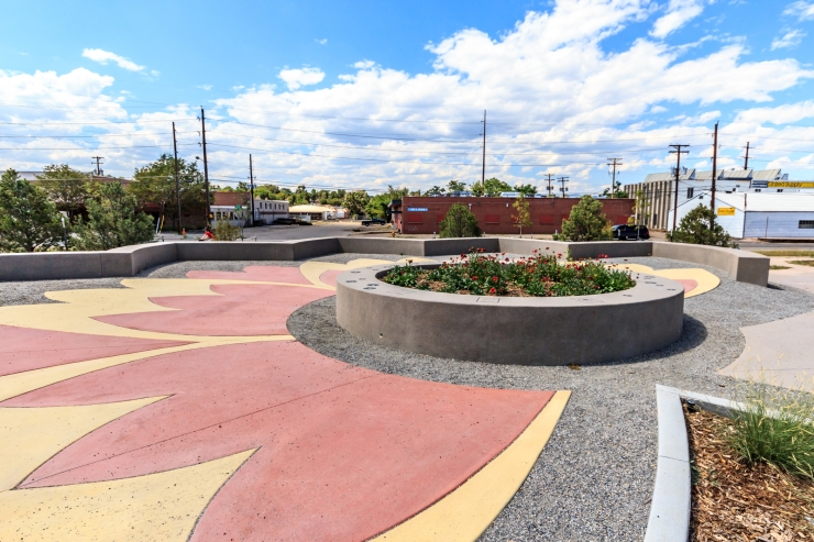 Finished photo of the blanket flower plaza with vibrant colors