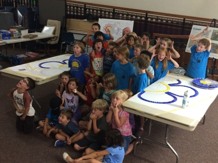 The SPREE kids helped create the LithoMosaics for the forget-me-not plaza